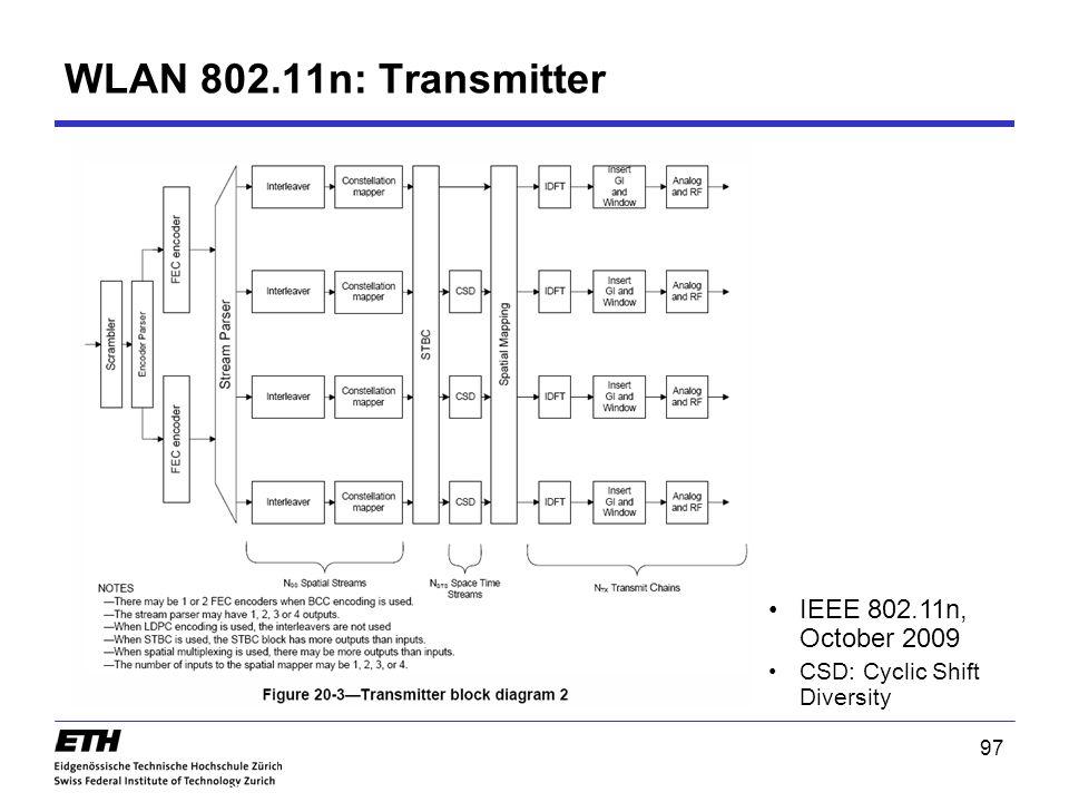 WLAN 802.11n: Transmitter IEEE 802.11n, October 2009 CSD: Cyclic Shift Diversity 97 802.11n 97
