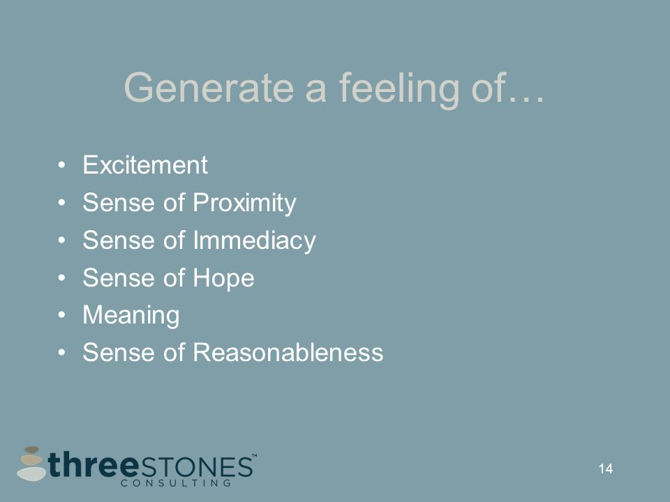 14 Generate a feeling of… Excitement Sense of Proximity Sense of Immediacy Sense of Hope Meaning Sense of Reasonableness