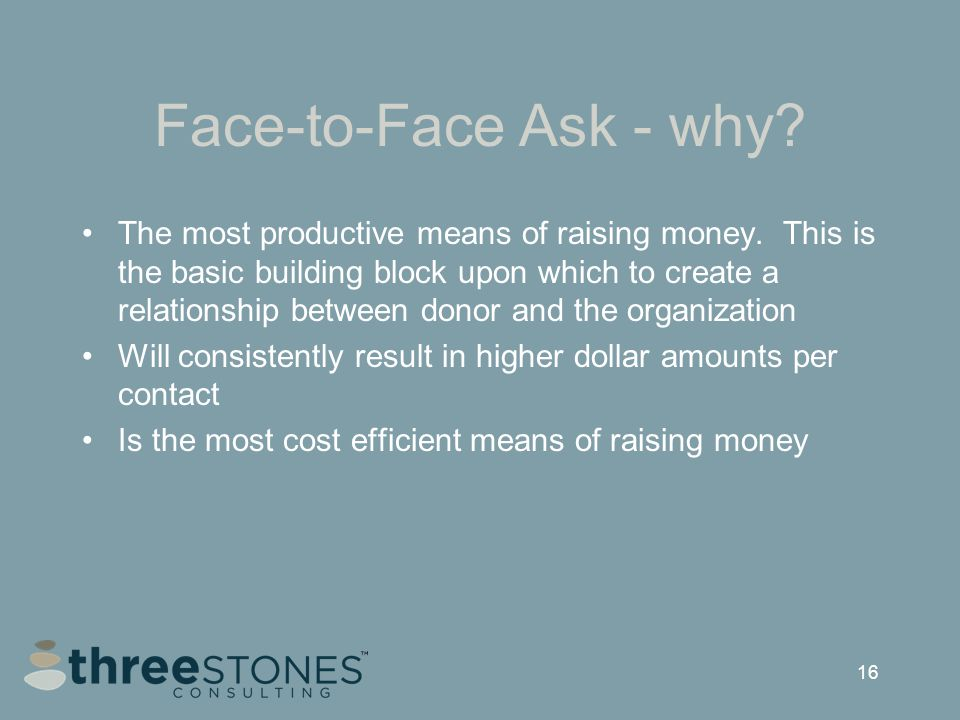 16 Face-to-Face Ask - why. The most productive means of raising money.