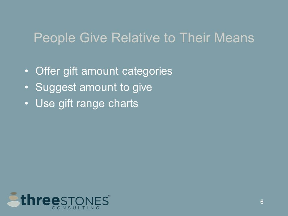 6 People Give Relative to Their Means Offer gift amount categories Suggest amount to give Use gift range charts