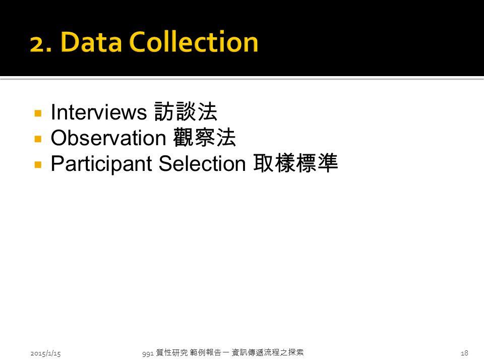  Interviews 訪談法  Observation 觀察法  Participant Selection 取樣標準 991 質性研究 範例報告一 資訊傳遞流程之探索 2015/1/1518