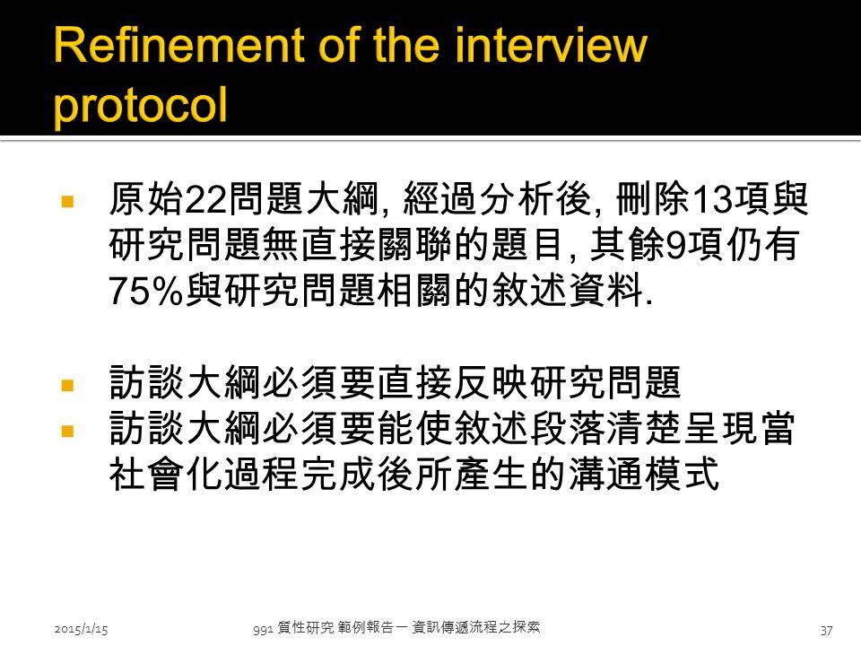  原始 22 問題大綱, 經過分析後, 刪除 13 項與 研究問題無直接關聯的題目, 其餘 9 項仍有 75% 與研究問題相關的敘述資料.