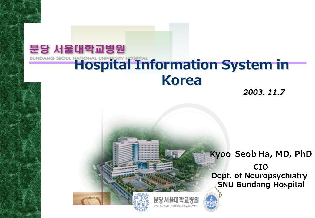 2003. 11.7 Hospital Information System in Korea Kyoo-Seob Ha, MD, PhD CIO Dept. of Neuropsychiatry SNU Bundang Hospital