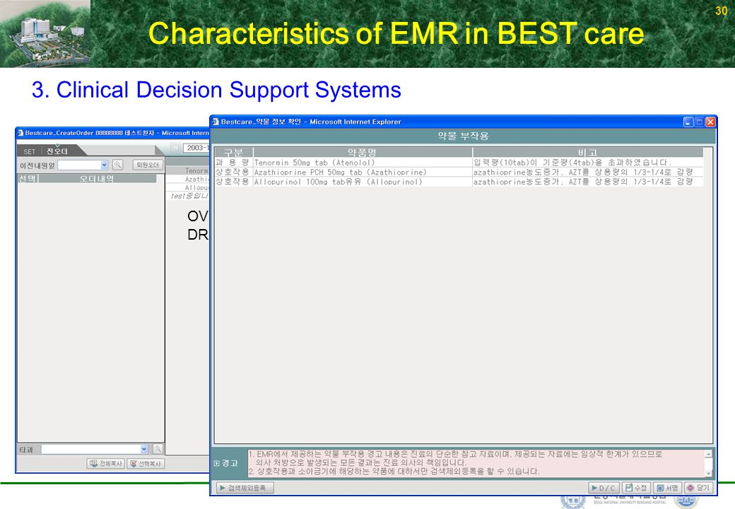 30 OVERDOSE-tenormin 500mg/day DRUG INTERACTION- azathioprin+allopurinol 3. Clinical Decision Support Systems Characteristics of EMR in BEST care