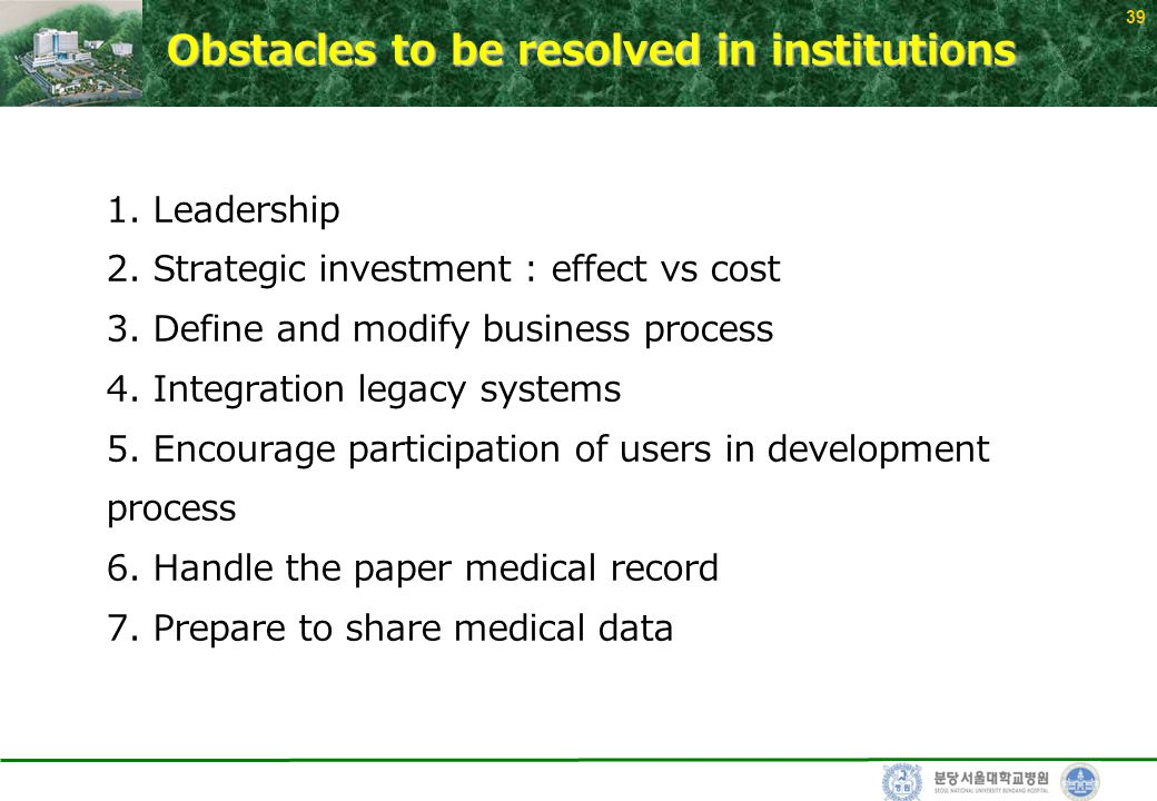 39 Obstacles to be resolved in institutions 1. Leadership 2.