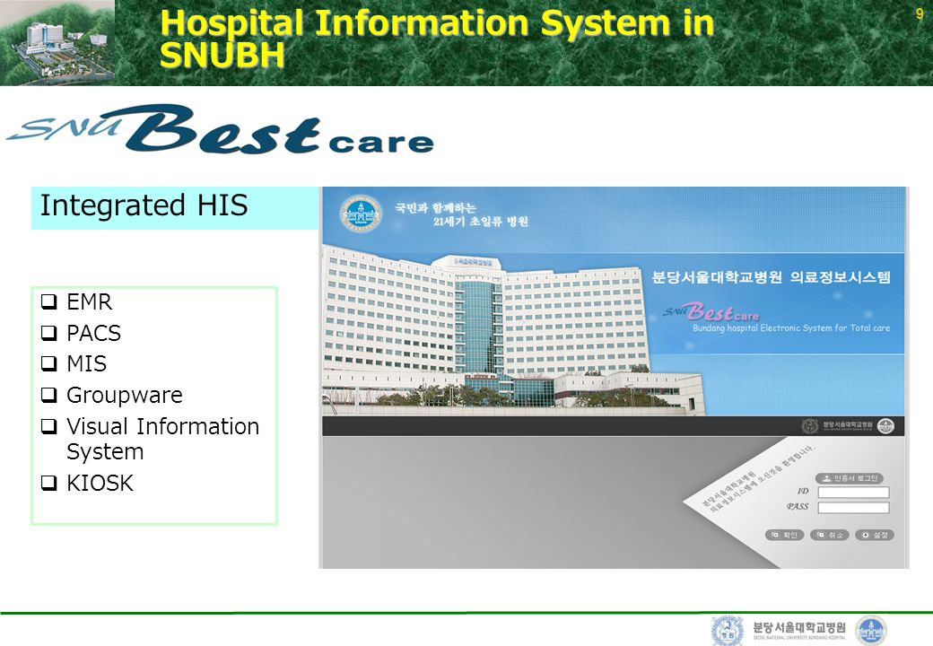 9 Hospital Information System in SNUBH  EMR  PACS  MIS  Groupware  Visual Information System  KIOSK Integrated HIS