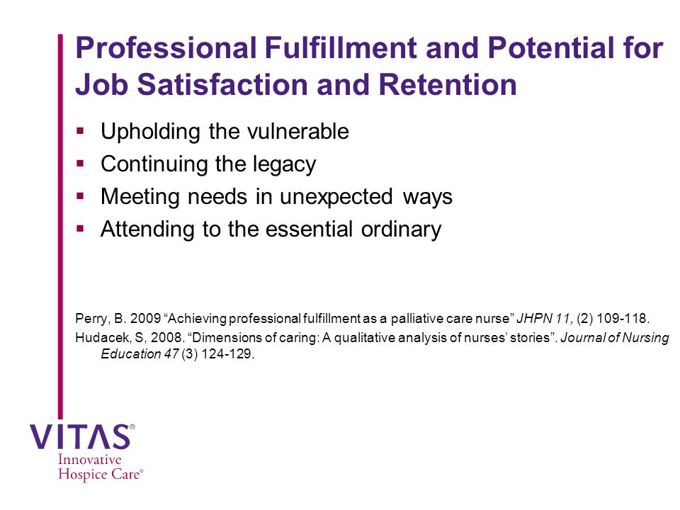 Professional Fulfillment and Potential for Job Satisfaction and Retention  Upholding the vulnerable  Continuing the legacy  Meeting needs in unexpected ways  Attending to the essential ordinary Perry, B.