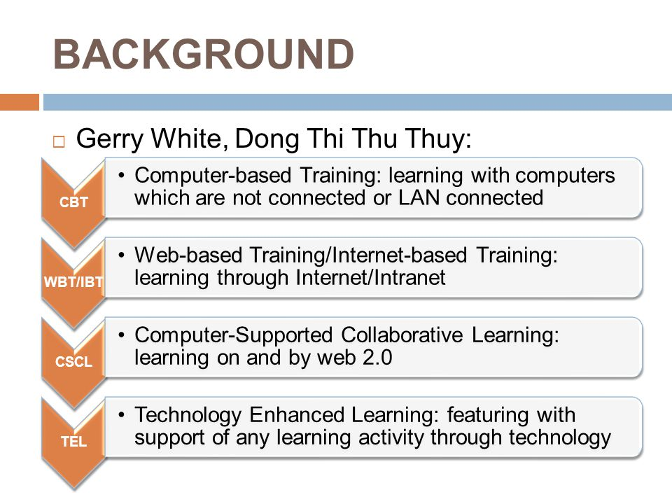 BACKGROUND CBT Computer-based Training: learning with computers which are not connected or LAN connected WBT/IBT Web-based Training/Internet-based Training: learning through Internet/Intranet CSCL Computer-Supported Collaborative Learning: learning on and by web 2.0 TEL Technology Enhanced Learning: featuring with support of any learning activity through technology  Gerry White, Dong Thi Thu Thuy: