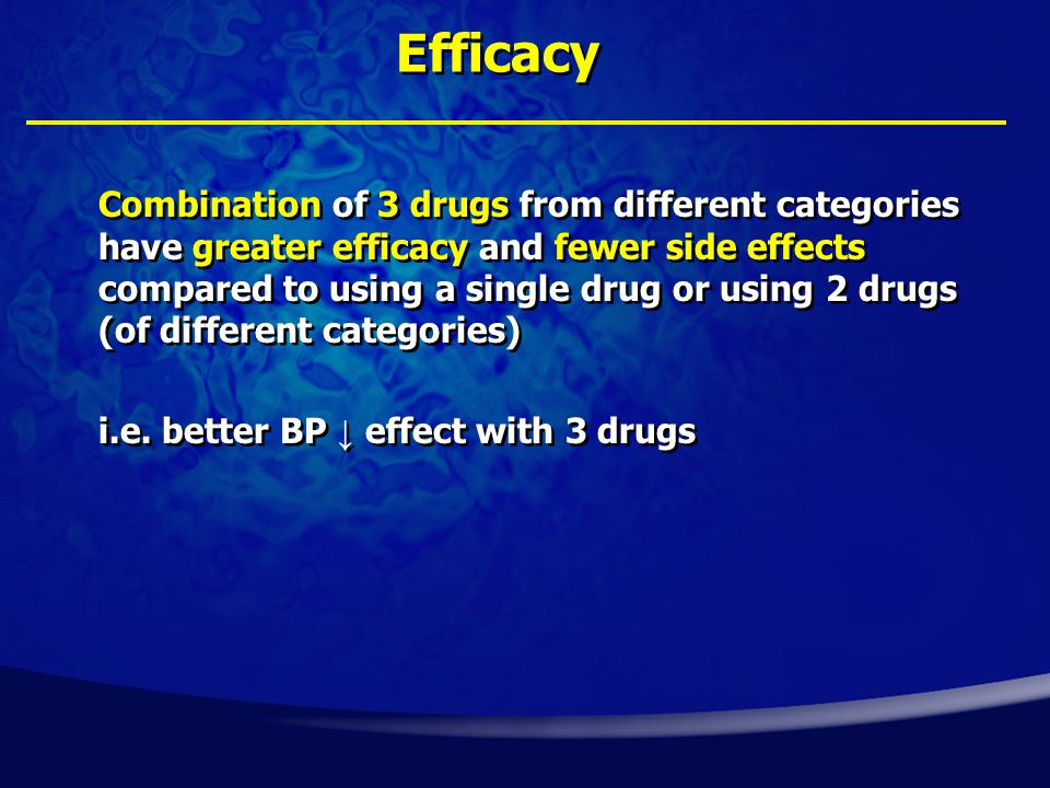 Combination of 3 drugs from different categories have greater efficacy and fewer side effects compared to using a single drug or using 2 drugs (of different categories) i.e.