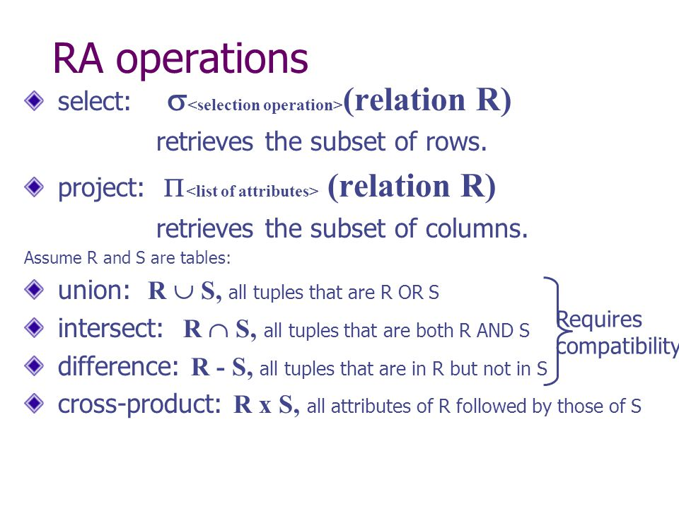 RA operations select:  (relation R) retrieves the subset of rows.
