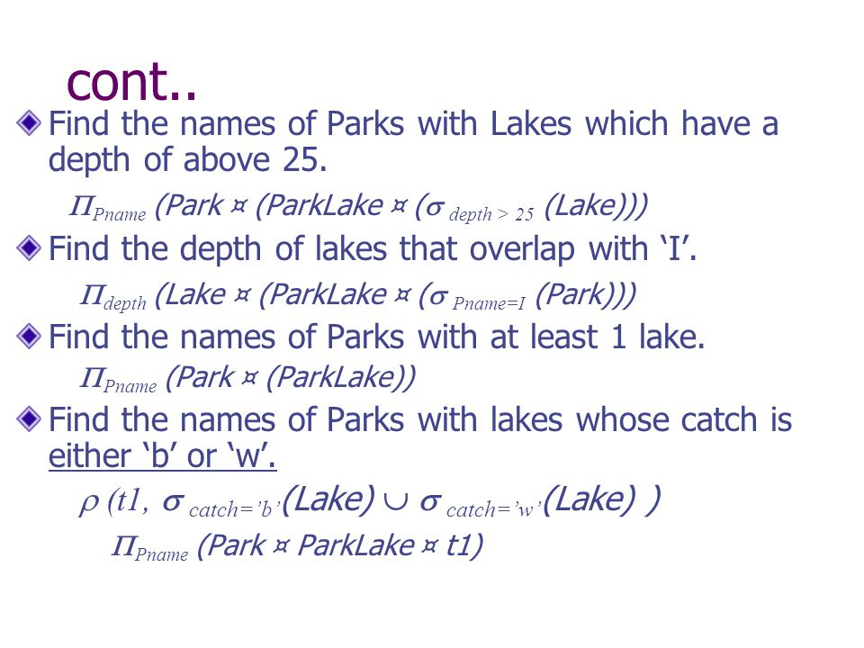 cont.. Find the names of Parks with Lakes which have a depth of above 25.