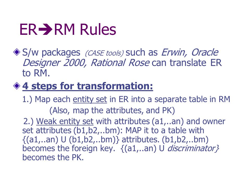 ER  RM Rules S/w packages (CASE tools) such as Erwin, Oracle Designer 2000, Rational Rose can translate ER to RM.