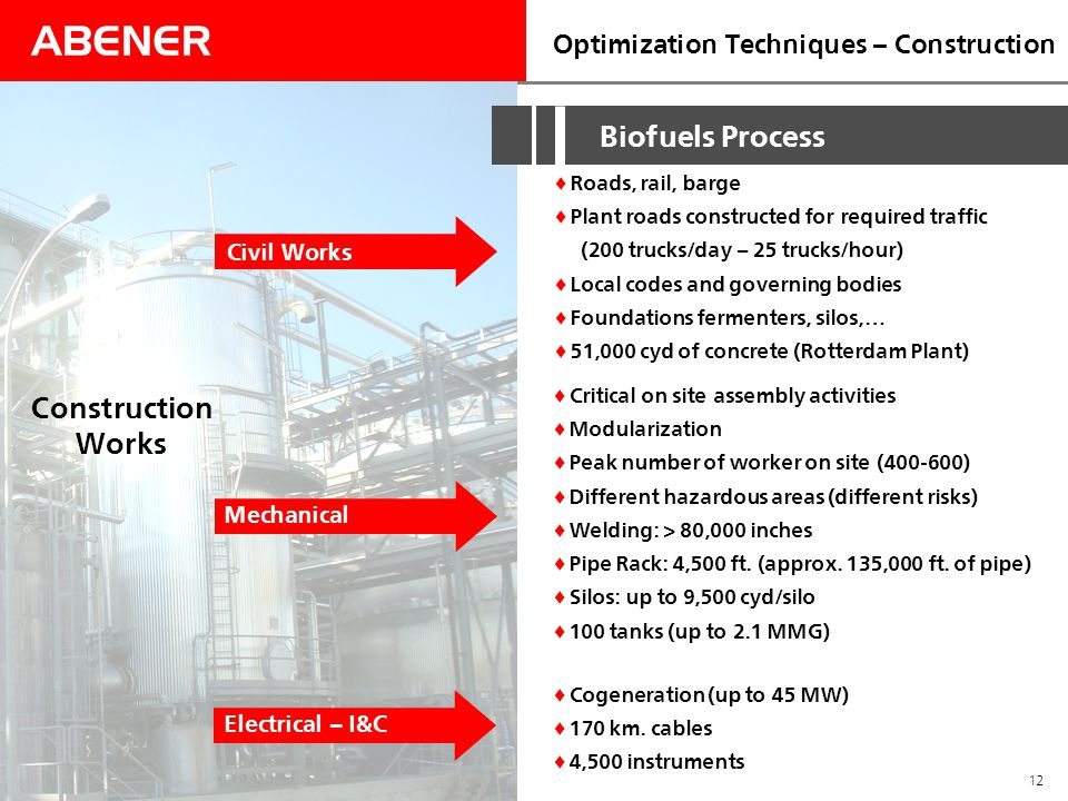 ABENER 12 Optimization Techniques – Construction  Roads, rail, barge  Plant roads constructed for required traffic (200 trucks/day – 25 trucks/hour)  Local codes and governing bodies  Foundations fermenters, silos,…  51,000 cyd of concrete (Rotterdam Plant) Civil Works Biofuels Process Construction Works  Critical on site assembly activities  Modularization  Peak number of worker on site (400-600)  Different hazardous areas (different risks)  Welding: > 80,000 inches  Pipe Rack: 4,500 ft.