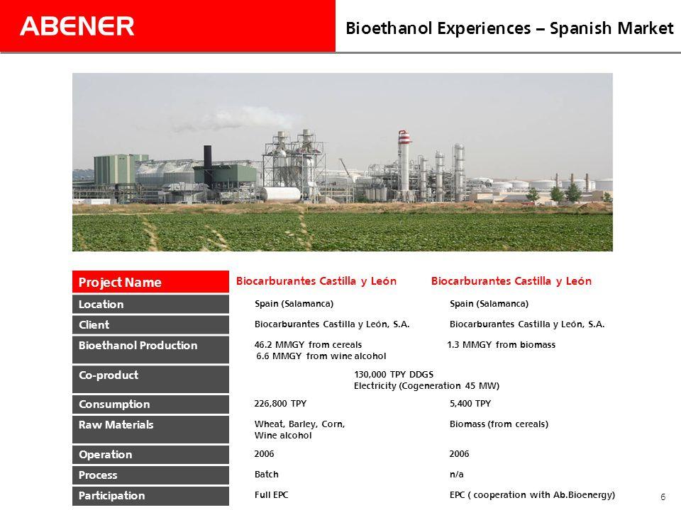 ABENER 6 Bioethanol Experiences – Spanish Market Project Name Biocarburantes Castilla y León Location Spain (Salamanca) Client Biocarburantes Castilla y León, S.A.