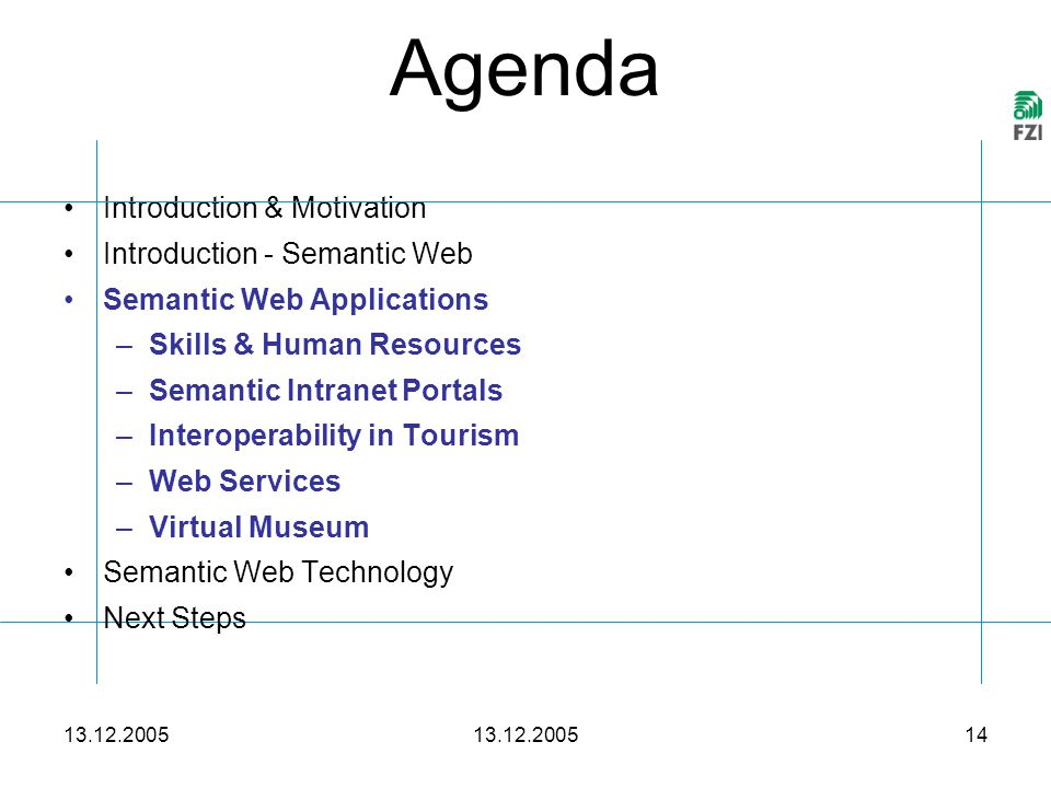 13.12.2005 14 Agenda 13.12.2005 Introduction & Motivation Introduction - Semantic Web Semantic Web Applications –Skills & Human Resources –Semantic Intranet Portals –Interoperability in Tourism –Web Services –Virtual Museum Semantic Web Technology Next Steps