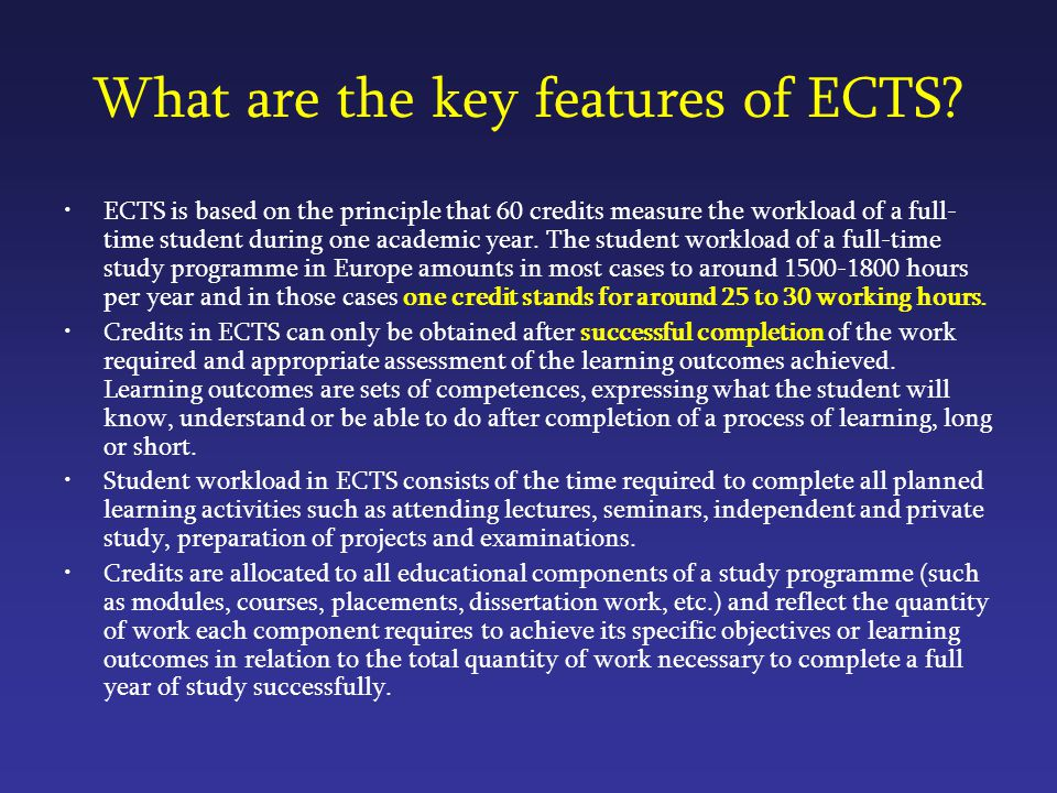 What are the key features of ECTS.