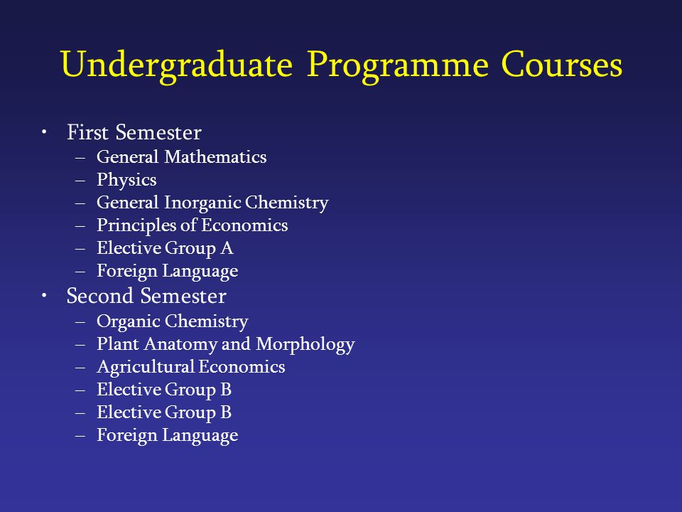 Undergraduate Programme Courses First Semester –General Mathematics –Physics –General Inorganic Chemistry –Principles of Economics –Elective Group A –Foreign Language Second Semester –Organic Chemistry –Plant Anatomy and Morphology –Agricultural Economics –Elective Group B –Foreign Language