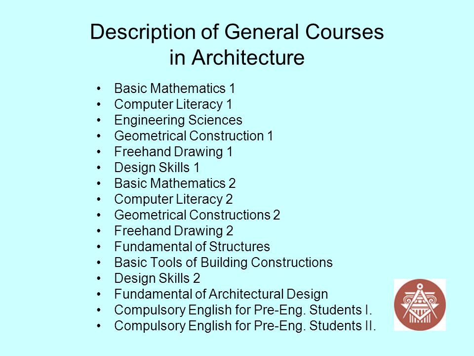 Description of General Courses in Architecture Basic Mathematics 1 Computer Literacy 1 Engineering Sciences Geometrical Construction 1 Freehand Drawin