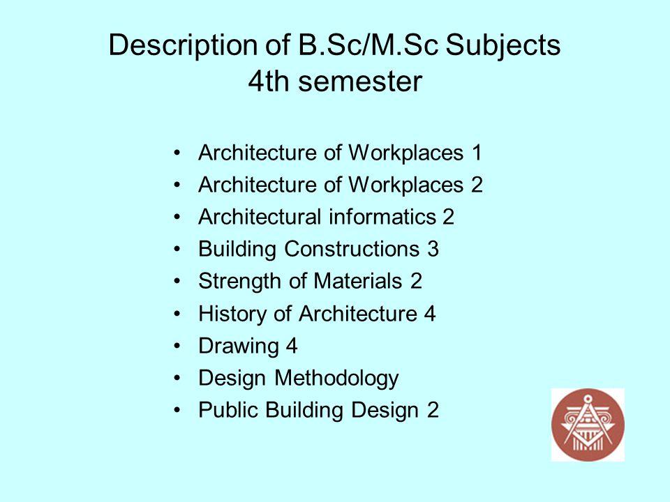 Description of B.Sc/M.Sc Subjects 4th semester Architecture of Workplaces 1 Architecture of Workplaces 2 Architectural informatics 2 Building Construc