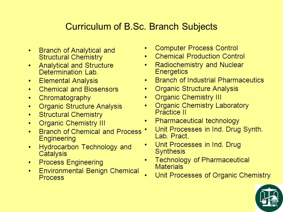Curriculum of B.Sc. Branch Subjects Branch of Analytical and Structural Chemistry Analytical and Structure Determination Lab. Elemental Analysis Chemi