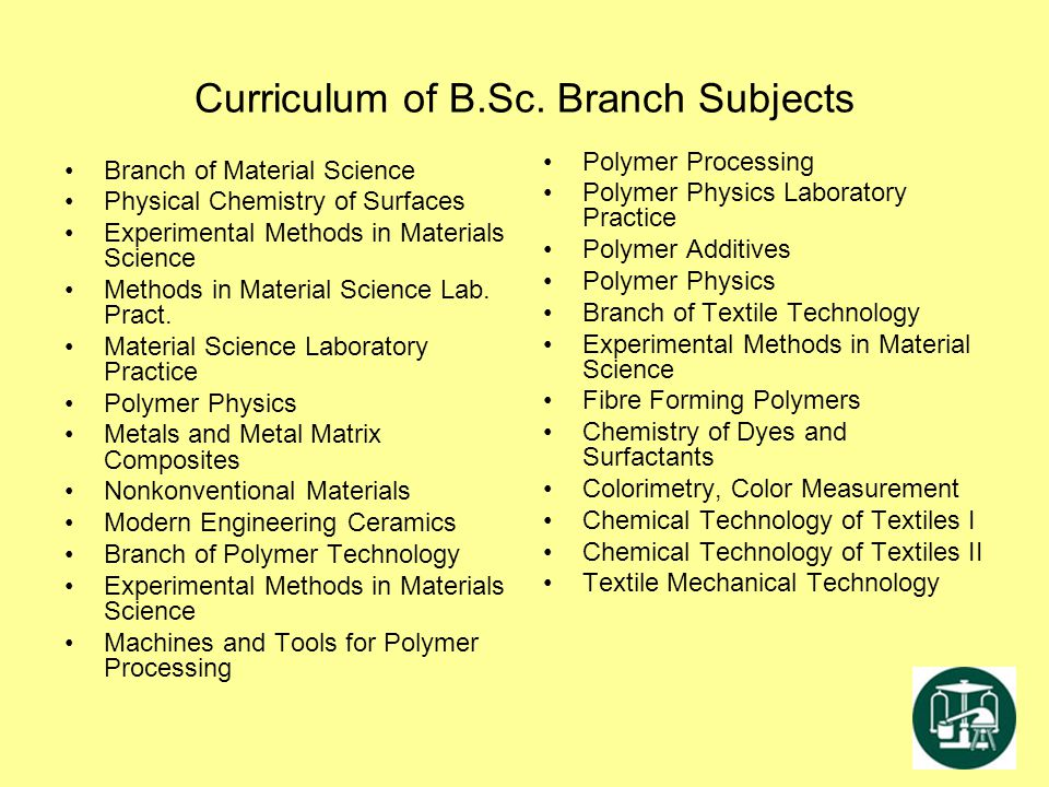 Curriculum of B.Sc. Branch Subjects Branch of Material Science Physical Chemistry of Surfaces Experimental Methods in Materials Science Methods in Mat