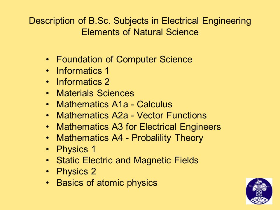 Description of B.Sc. Subjects in Electrical Engineering Elements of Natural Science Foundation of Computer Science Informatics 1 Informatics 2 Materia
