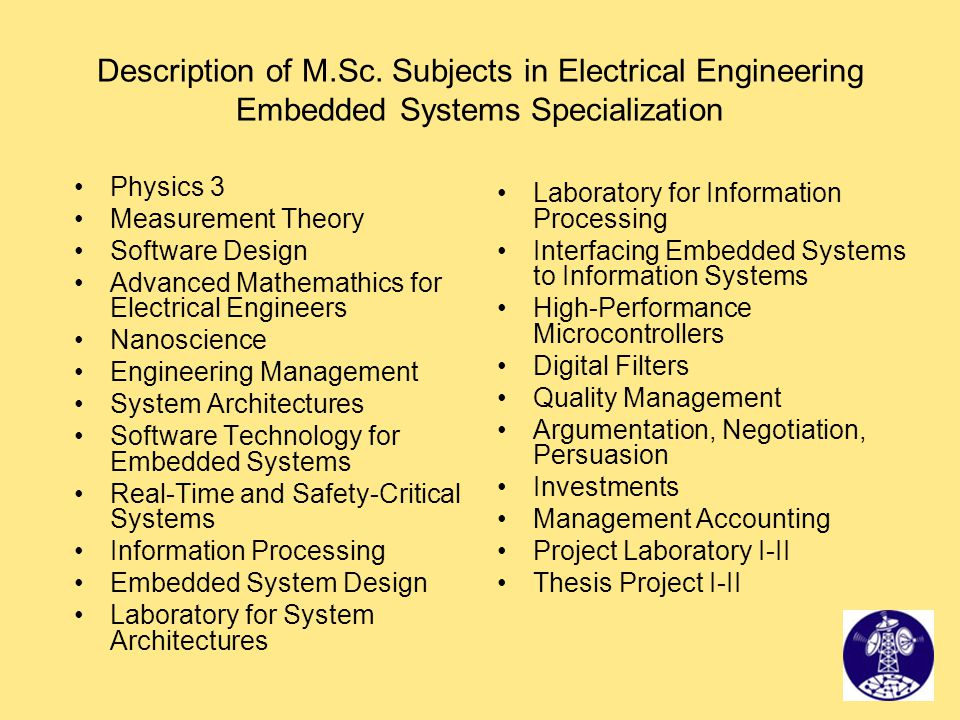 Description of M.Sc. Subjects in Electrical Engineering Embedded Systems Specialization Physics 3 Measurement Theory Software Design Advanced Mathemat