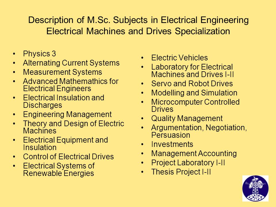 Description of M.Sc. Subjects in Electrical Engineering Electrical Machines and Drives Specialization Physics 3 Alternating Current Systems Measuremen