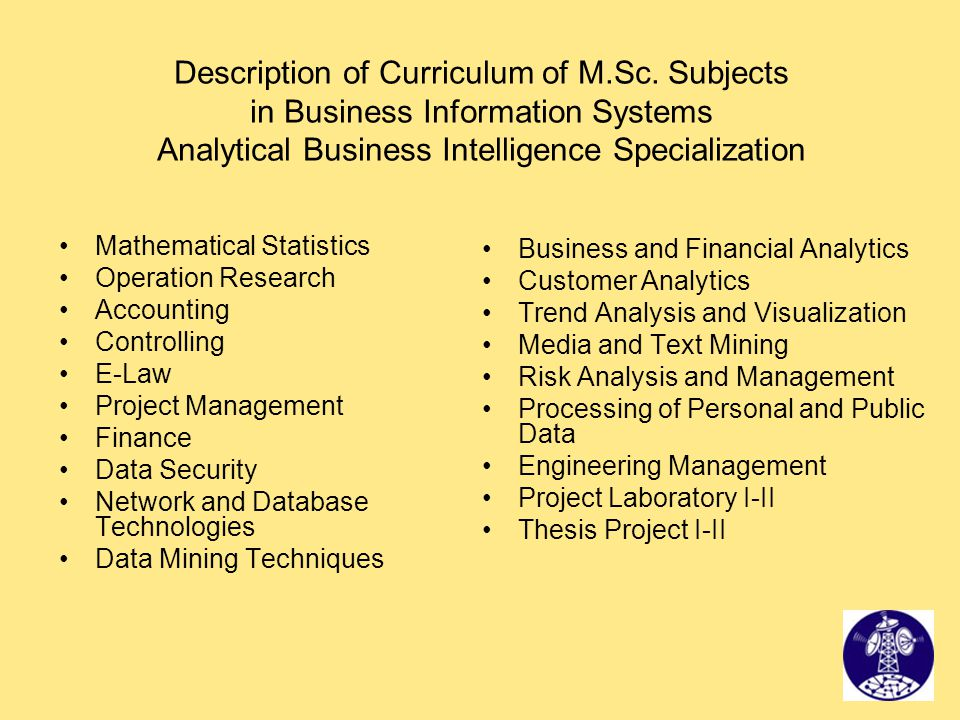 Description of Curriculum of M.Sc. Subjects in Business Information Systems Analytical Business Intelligence Specialization Mathematical Statistics Op
