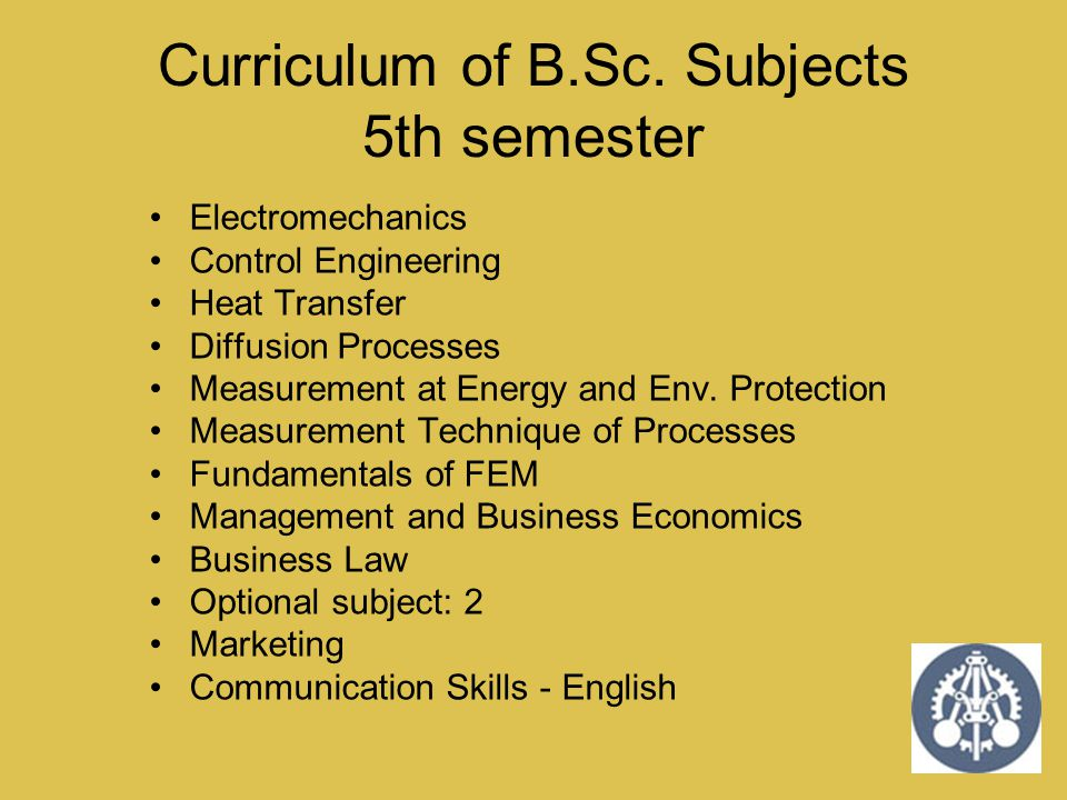 Curriculum of B.Sc. Subjects 5th semester Electromechanics Control Engineering Heat Transfer Diffusion Processes Measurement at Energy and Env. Protec