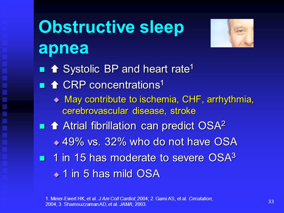 33 Obstructive sleep apnea  Systolic BP and heart rate 1  Systolic BP and heart rate 1  CRP concentrations 1  CRP concentrations 1  May contribut