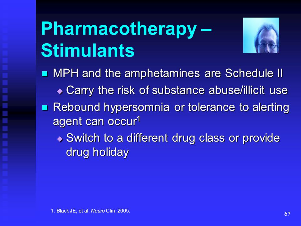 67 Pharmacotherapy – Stimulants MPH and the amphetamines are Schedule II MPH and the amphetamines are Schedule II  Carry the risk of substance abuse/