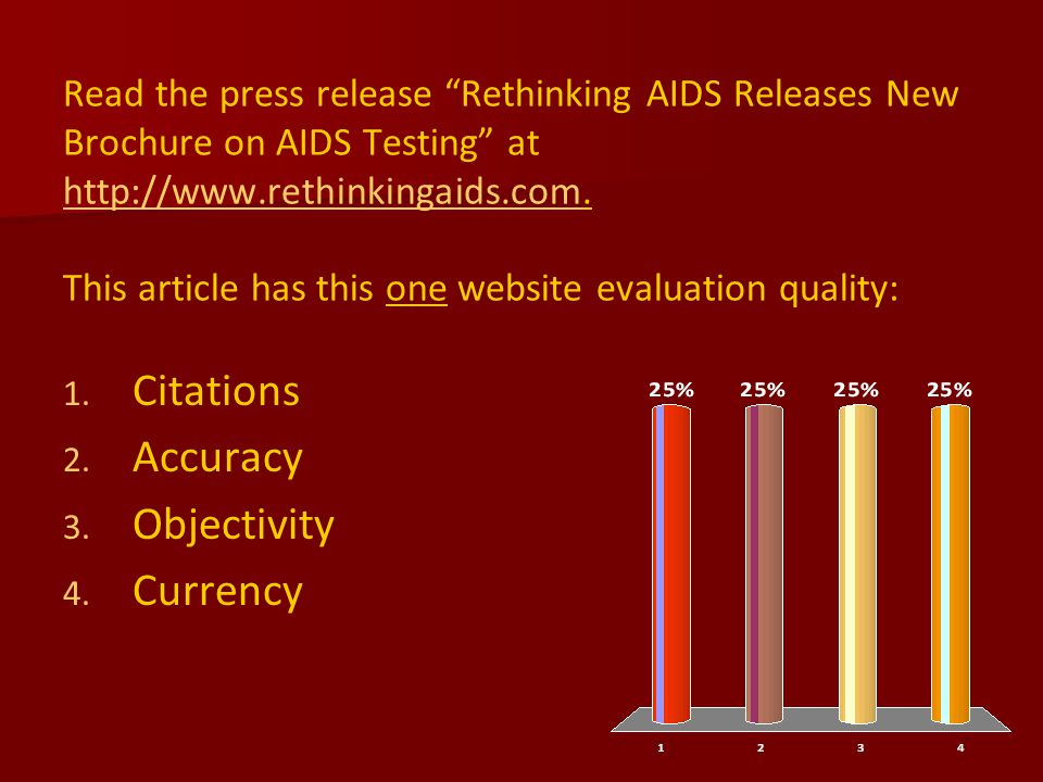 Read the press release Rethinking AIDS Releases New Brochure on AIDS Testing at http://www.rethinkingaids.com.