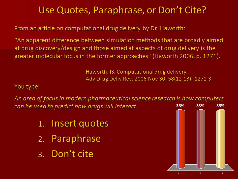 Use Quotes, Paraphrase, or Don't Cite. From an article on computational drug delivery by Dr.