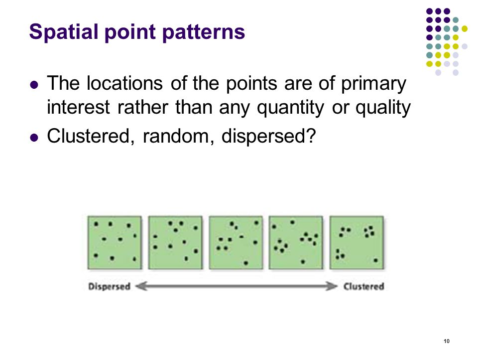 10 Spatial point patterns The locations of the points are of primary interest rather than any quantity or quality Clustered, random, dispersed