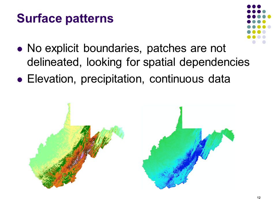 12 Surface patterns No explicit boundaries, patches are not delineated, looking for spatial dependencies Elevation, precipitation, continuous data