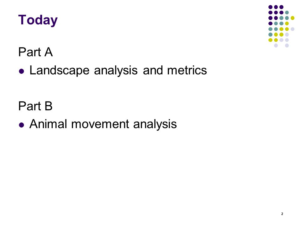 2 Today Part A Landscape analysis and metrics Part B Animal movement analysis