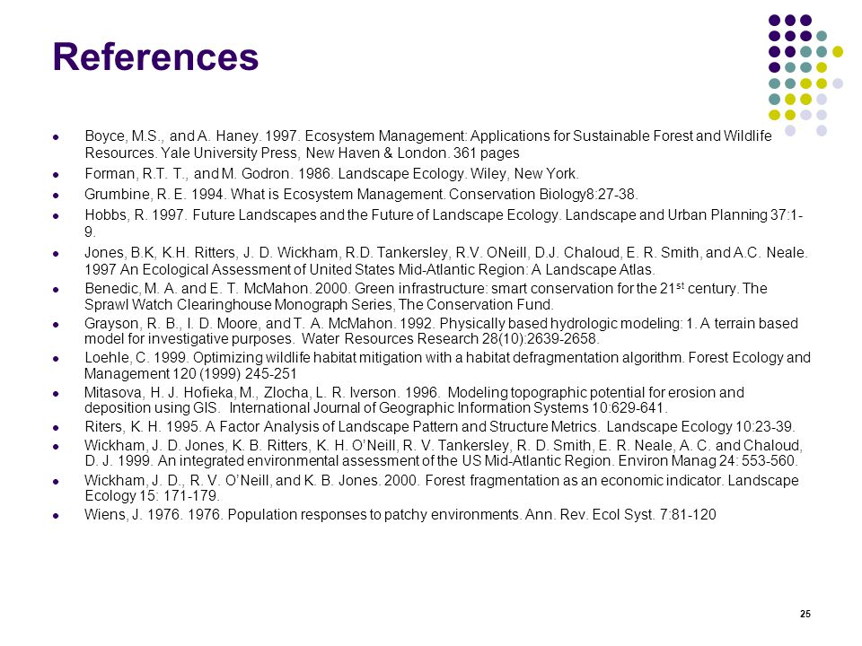 25 References Boyce, M.S., and A. Haney. 1997.