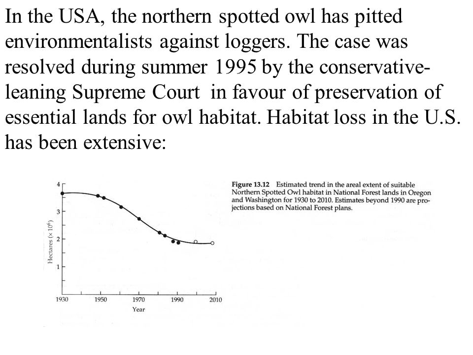 In the USA, the northern spotted owl has pitted environmentalists against loggers.