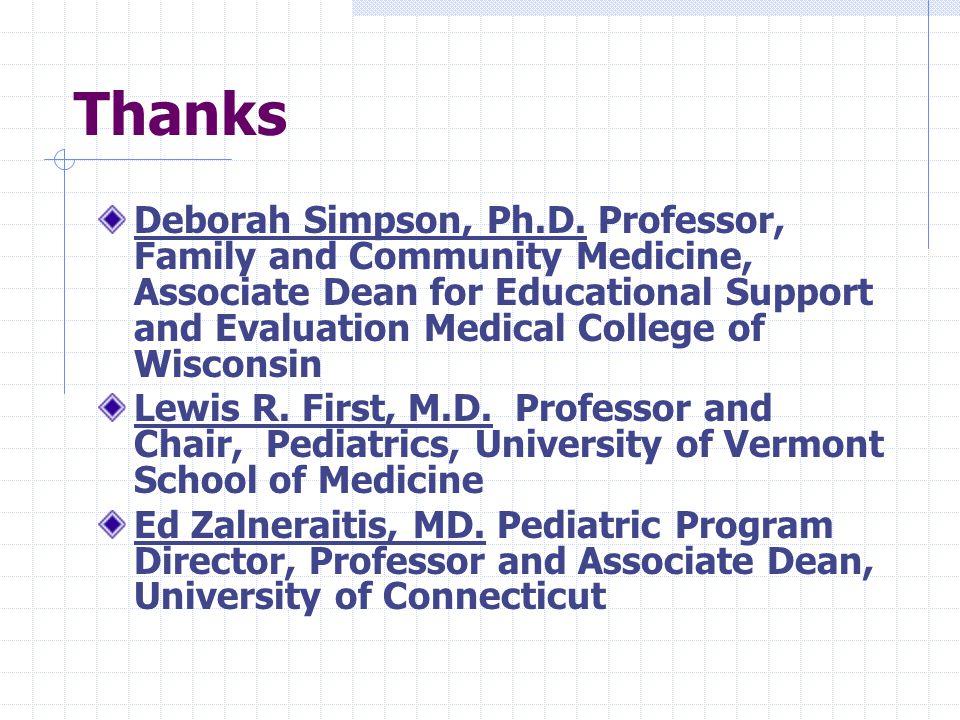 Thanks Deborah Simpson, Ph.D.