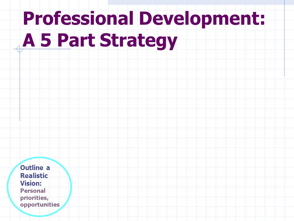 The Vision: Key to Defining Your Professional Mission Statement (PMS) Identify personal goals and interests What do you value.