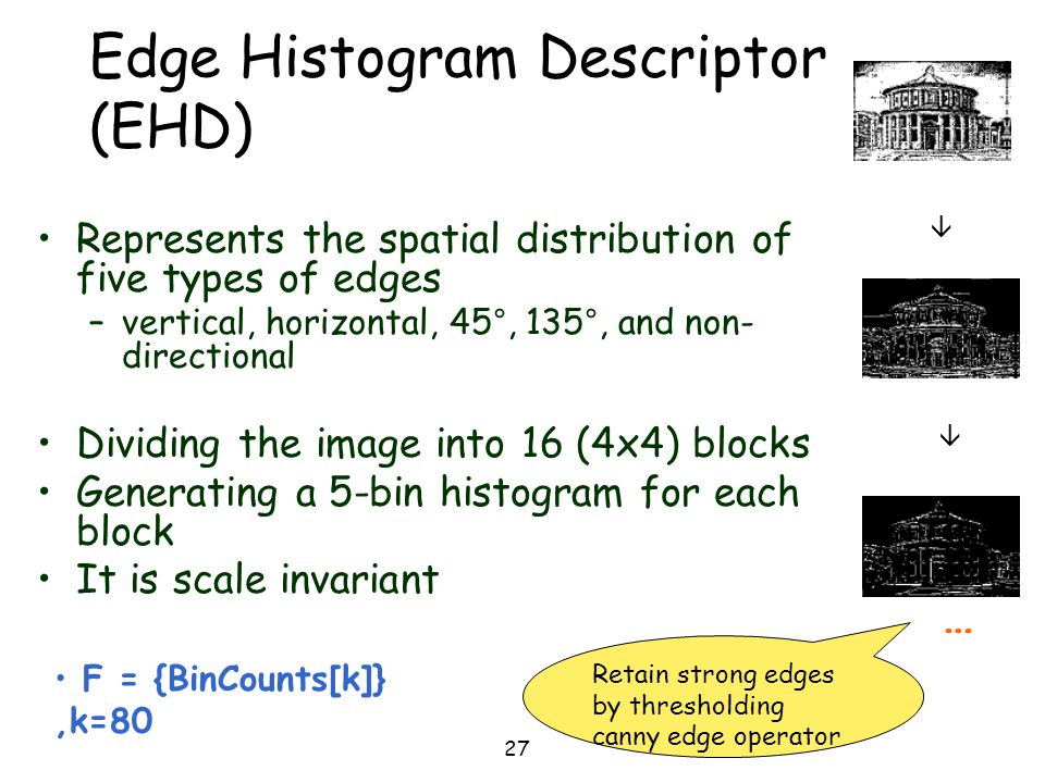 27 Edge Histogram Descriptor (EHD) Represents the spatial distribution of five types of edges –vertical, horizontal, 45°, 135°, and non- directional D
