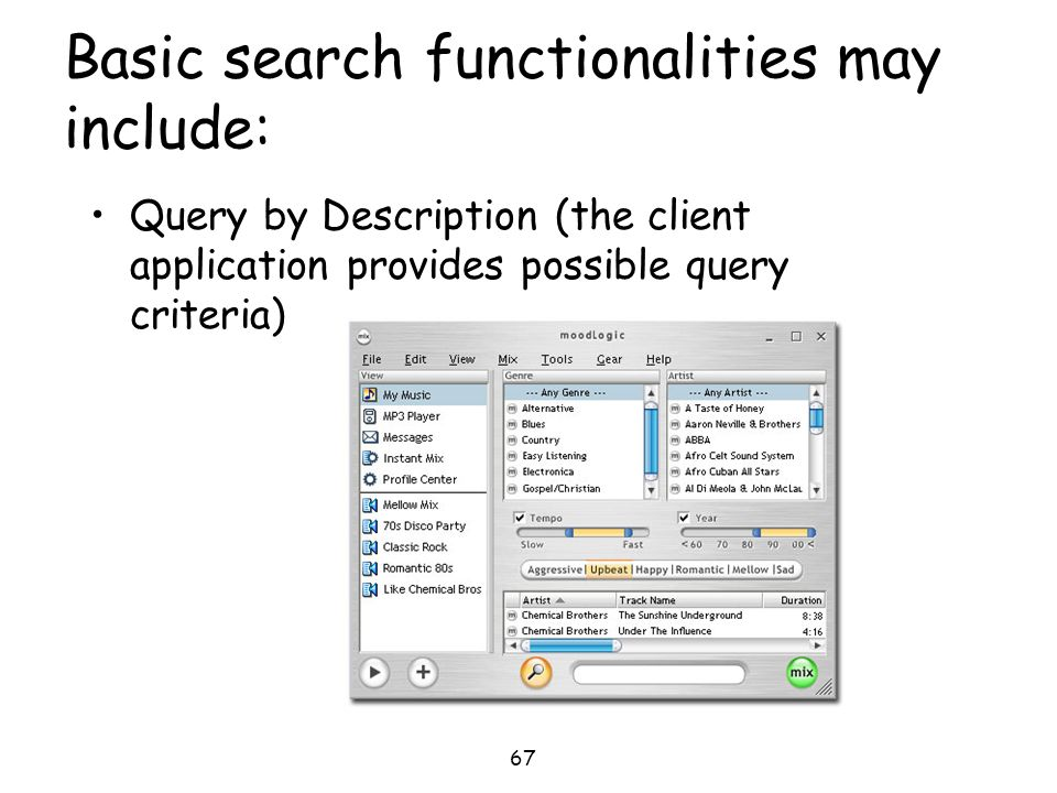 67 Basic search functionalities may include: Query by Description (the client application provides possible query criteria)