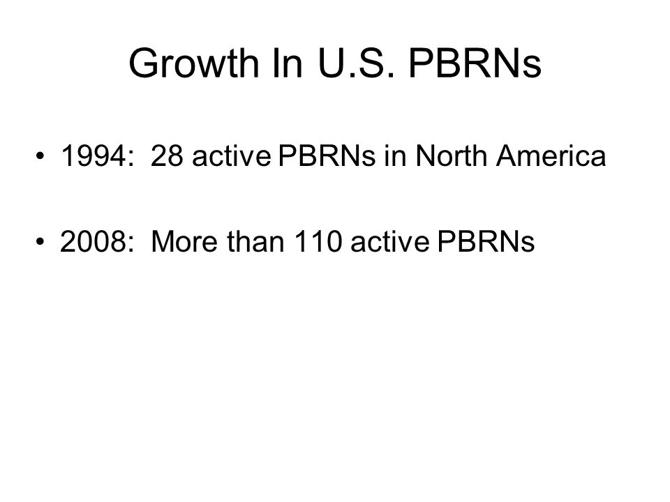Growth In U.S. PBRNs 1994: 28 active PBRNs in North America 2008: More than 110 active PBRNs
