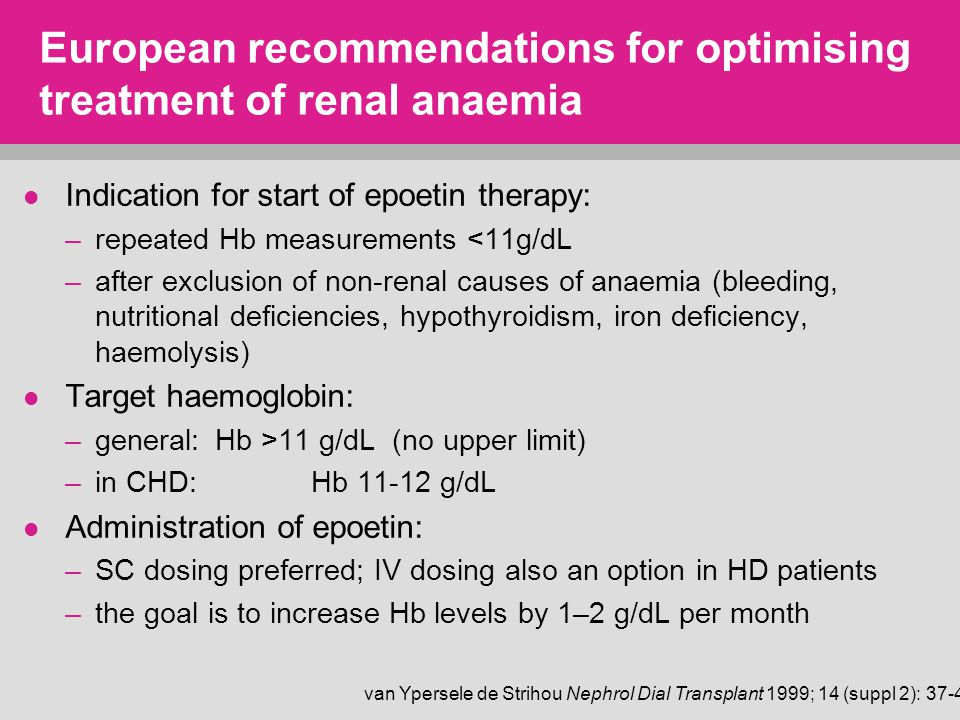 European recommendations for optimising treatment of renal anaemia Indication for start of epoetin therapy: –repeated Hb measurements <11g/dL –after exclusion of non-renal causes of anaemia (bleeding, nutritional deficiencies, hypothyroidism, iron deficiency, haemolysis) Target haemoglobin: –general: Hb >11 g/dL (no upper limit) –in CHD: Hb 11-12 g/dL Administration of epoetin: –SC dosing preferred; IV dosing also an option in HD patients –the goal is to increase Hb levels by 1–2 g/dL per month van Ypersele de Strihou Nephrol Dial Transplant 1999; 14 (suppl 2): 37-45
