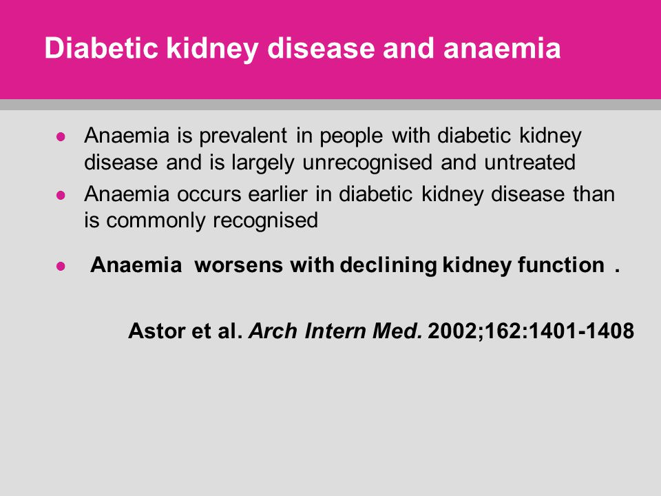 Diabetic kidney disease and anaemia Anaemia is prevalent in people with diabetic kidney disease and is largely unrecognised and untreated Anaemia occurs earlier in diabetic kidney disease than is commonly recognised Anaemia worsens with declining kidney function.