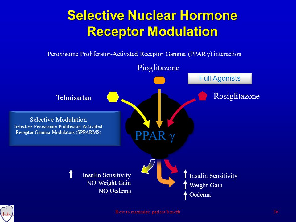 Peroxisome Proliferator-Activated Receptor Gamma (PPAR  ) interaction Selective Nuclear Hormone Receptor Modulation Rosiglitazone Pioglitazone PPAR  Full Agonists Insulin Sensitivity NO Weight Gain NO Oedema Insulin Sensitivity Weight Gain Oedema Telmisartan Selective Modulation Selective Peroxisome Proliferator-Activated Receptor Gamma Modulators (SPPARMS) 36How to maximize patient benefit