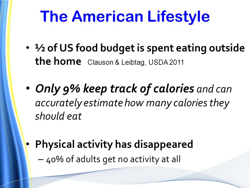 The American Lifestyle ½ of US food budget is spent eating outside the home Clauson & Leibtag, USDA 2011 Only 9% keep track of calories and can accura
