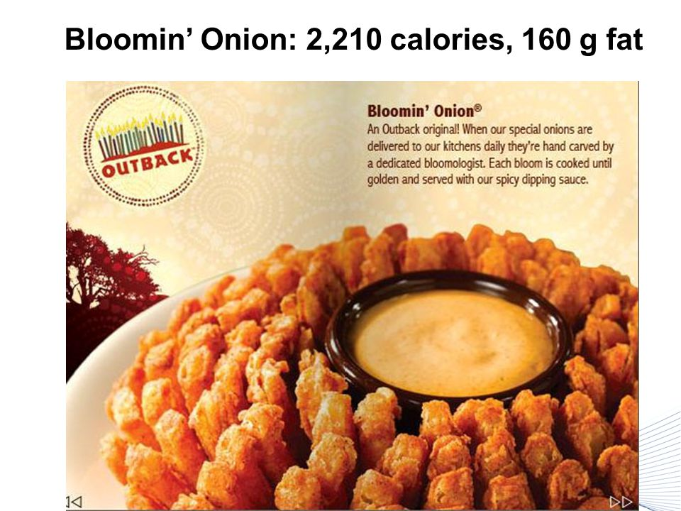 Bloomin' Onion: 2,210 calories, 160 g fat