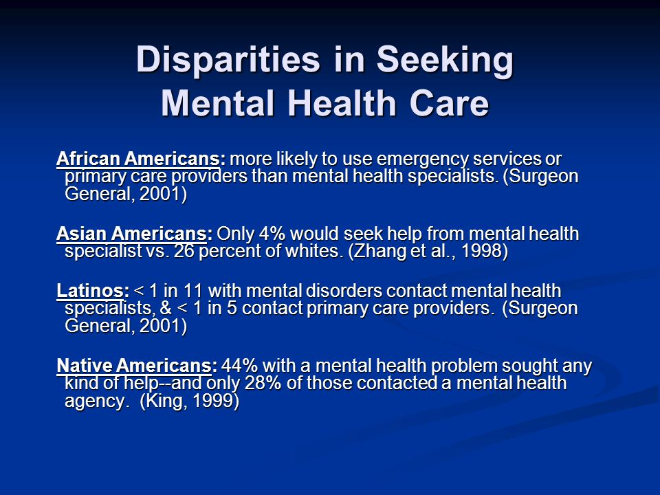 Unmet Need Levels of unmet need (not receiving specialist or generalist care in past 12 months, with identified diagnosis in same period) Levels of unmet need (not receiving specialist or generalist care in past 12 months, with identified diagnosis in same period) African Americans – 72% African Americans – 72% Asian Americans – 78% Asian Americans – 78% Hispanics – 70% Hispanics – 70% Non-Hispanic Whites – 61% Non-Hispanic Whites – 61% Alegria et al 2006